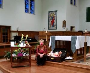 speaking at St. Andrew's Catholic Church